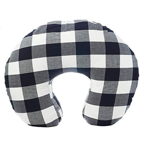 New Org Store Premium Buffalo Check Nursing Pillow Cover | Infant Pillow Slipcover for Breastfeeding Moms (Black & White)
