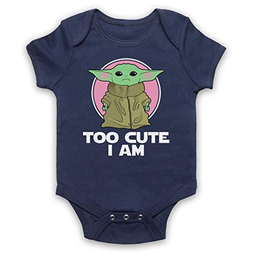 My Icon Art & Clothing Mandalor Star Baby Yoda Too Cute I Am Sci Fi Film Spinoff TV Babystrampler, Ultramarinblau, 3-6 Monate