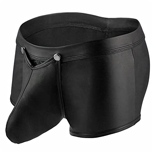 Boxershorts Aus Lederimitat Für Herren Sexy Unterhose Mit Ausbuchtung Lederimitat kurzem Bein Low Rise U Convex Lederimitaterwear Slip Bikinis (Schwarz,L)