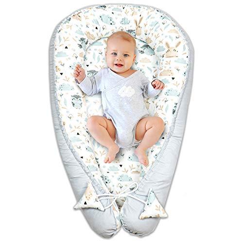 nido para bebe - reductor de cuna nido bebe recien nacido algodón con certificado oeko-tex (blanco y gris con búhos y conejitos, 90 x 50 cm)