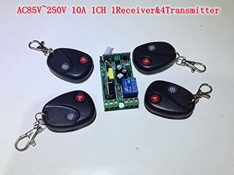 Mini AC85V  250V 1 Channel 220V AC Switch RF Wireless Remote Control Switch AC 110V 1 Receiver& 4 Transmitter rf Remote