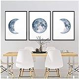 JEfunv Mondphasen Poster Druck Vollmond Halbmond Wandkunst