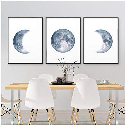 JEfunv Mondphasen Poster Druck Vollmond Halbmond Wandkunst Leinwand Malerei Nachthimmel Raum Galaxie Astronomie Bilder Wanddekoration 50x70cmx3 (kein Rahmen)