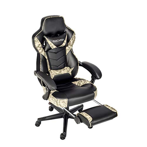 Ergonomic Computer Gaming Chair, Large Size PU Leather High Back Office Racing Chairs with Widen Thicken Seat and Retractable Footrest and Lumbar Support Camouflage Gray