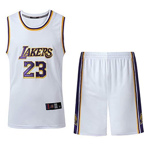 Wsaman Camiseta de Baloncesto para Hombre, Camiseta de Baloncesto para Hombres 23 Jerseys Transpirable Bordado Ropa de Entrenamiento para Hombres Camiseta de Baloncesto para Hombre,Blanco,XS