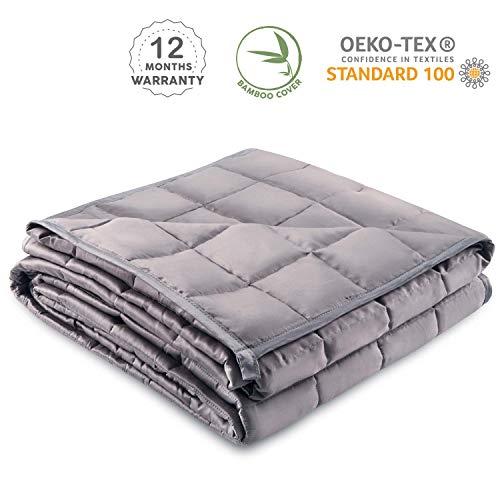 Gewichtsdecke 160 x 200cm, 8kg - Zertifizierte Therapiedecke Chemikalienfrei - Weighted Blanket mit Bambusfaserbezug - Schwere Decke für Erwachsene und Kinder Reduziert Stress und Angstattacken