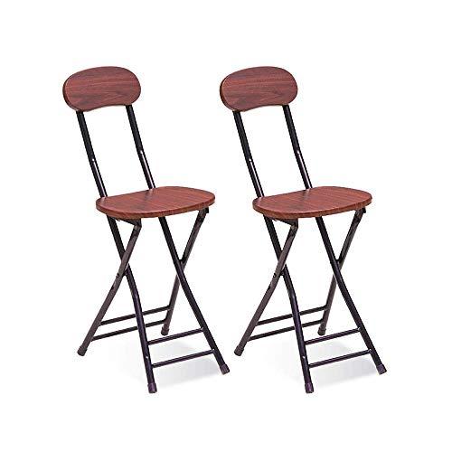 折りたたみスツール ダイニングチェア 2脚セット パイプ椅子 木製 オシャレ高さ40cm耐荷100kg 持ち運び便利 コンパクト組み立て不要 合金脚 超軽量 キッチン/レストラン/ベランダ/アウトドア/キャンプなどに適用(くるみ色)