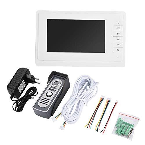 Jacksking Timbre de la Puerta con Cable, 7'Sistema de Seguridad para el hogar Timbres de Video Videoportero bidireccional Monitor de vigilancia Tono de Llamada Desbloqueo Alarma Cámara(UE)
