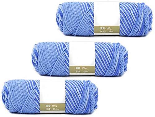 毛糸 ソフト分厚いヤーンニットウール、3 Xの100グラム、ソフトミルクコットンナチュラルハンドニットウール糸玉ベビーウールクラフトグリーンスムース ZSMMFDB (Color : Blue)
