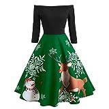 Tosonse Vestidos De Navidad para Mujer con Hombros Descubiertos Vestido De Línea con Columpio Fiesta De Noche