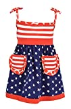 Unique Baby Girls Patriotic 4th of July Summer Dress (2t, Red)