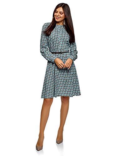oodji Collection Mujer Vestido de Viscosa con Cinturón, Azul, ES 44 / XL