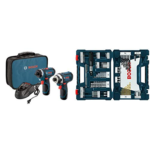 Bosch CLPK27-120 12V Max 2-Tool Combo Kit (Drill/Driver and Impact Driver) with 2 Batteries, Charger and Case & 91-Piece Drilling and Driving Mixed Set MS4091