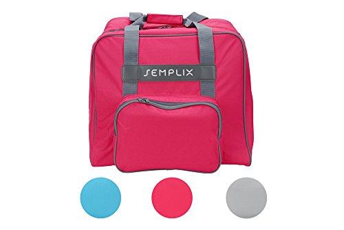 SEMPLIX Overlocktasche/Coverlocktasche 44x38x33cm, Groß, Stabil, für Transport/Aufbewahrung Aller gängiger Maschinen, (pink)