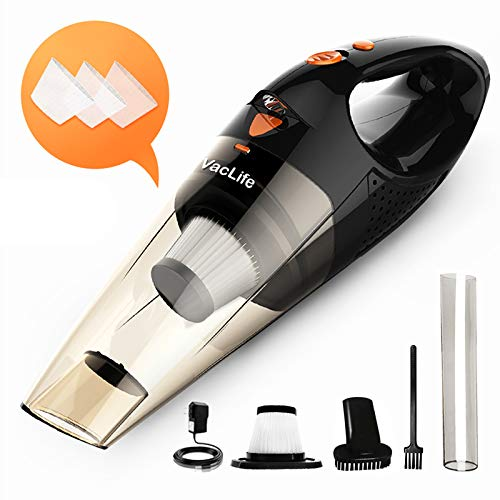 VacLife Handstaubsauger, kabellos, aufladbar, klein und handlich, mit hoher Leistung und Schnellladefunktion, für Haus- und Autoreinigung, in schwarz & orange