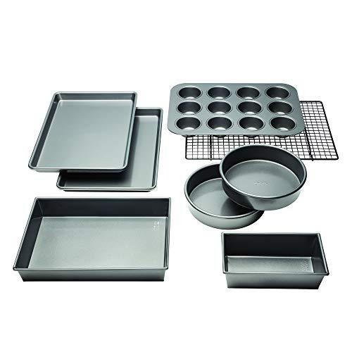 Chicago Metallic Profesional antiadherente 8 piezas Bakeware Set Plata