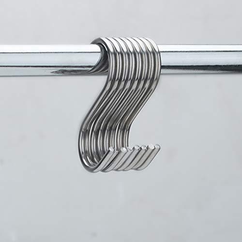 Ganchos de acero inoxidable, 10 ganchos colgantes en forma de S de acero inoxidable para cocina, baño, dormitorio, cocina, comedor y bar, grandes ventas de plata