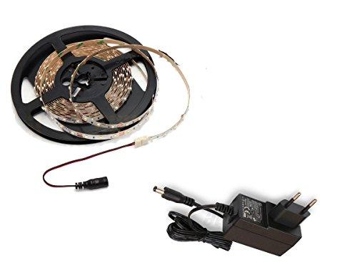 SET: LED Stripe, LED Streifen, LED Strip 12V Roll 2m 300/5m LED 3528 24W/5m 610/5m Lumen IP20, LED Netzteil (2m Warmweiss + 12W Trafo)