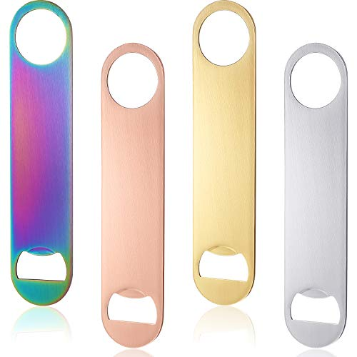 4 Pieces Stainless Steel Flat Bottle Opener Bartender Bottle Opener for Bar, Simple and Effective Beer Openers
