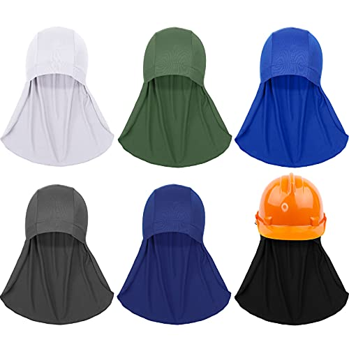 6 Pieces Hard Hat Neck Shade Sun Protector Liner Cap Elastic Cooling Skull Cap for Safety Helmet Accessories Cycling Running Neck Protection Hat