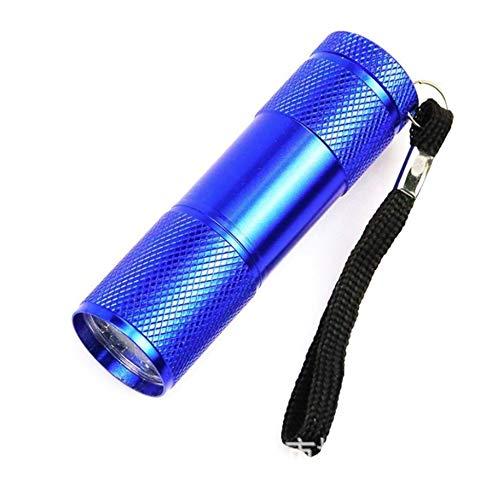 Torcia UV - Mini 9LED Torcia UV Raggi ultravioletti Invisibile Indicatore di inchiostro Torcia Luce torcia per controllare il conto - Blu