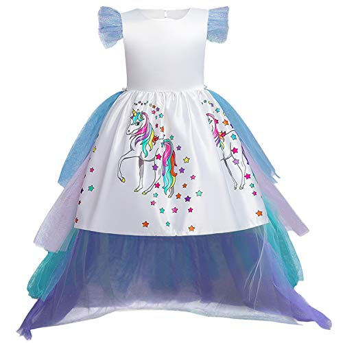 Little Girl Princess Party Dress Rainbow Tulle with Long Train Match Headband 04 White 6-7 Years