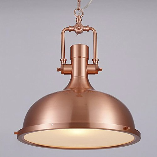 "Industrial Nautical Style Single Pendant-LITFAD 15.75"" Wide Pendant Lamp with Frosted Diffuser Mounted Fixture Polished Nickel in Copper"