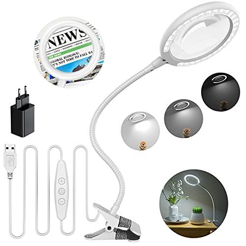 Lámpara de aumento LED de luz diurna 3X, lupa de abrazadera con 6 ajustes de luz ajustables para lectura, personas mayores, pasatiempos, manualidades