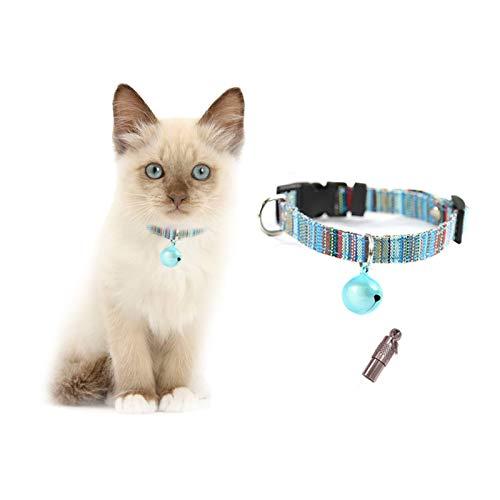 Andiker Collare per Animali Domestici, Colorato per Gatto con Targhetta, Morbido e Regolabile Collare per Gatti, Cuccioli, Gattini (S, Blu)