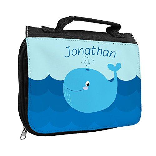 Kulturbeutel mit Namen Jonathan und schönem Wal-Motiv für Jungs   Kulturtasche mit Vornamen   Waschtasche für Kinder