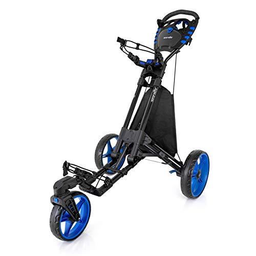 SereneLife 3 Wheel Golf Push Cart - Lightweight Folding Walking Push Cart Roller Golf Bag Holder w/Foot/Handle Brake, Upper/Lower Bracket w/Elastic Strap, Scorecard/Cup/Bag Storage Holder SLGZ48