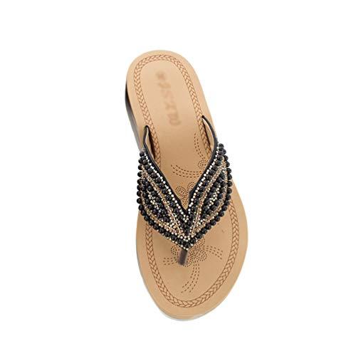 TianBin Frauen Mode Sommer Glitzer Perlen Sandalen Flip Flops Strand Flach T-Strap Zehentrenner Bequeme für Damen (Schwarz, 40 EU)
