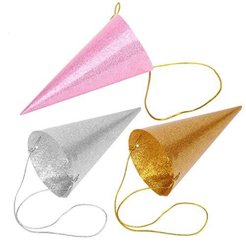 12PCS Party Glitter Cono Sombreros, Sombreros de fiesta de aluminio Sombreros de fiesta de cumpleaños Decoraciones Sombreros de fiesta Sombreros de cumpleaños para niños y adultos(astilla)