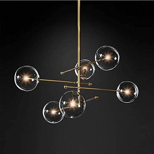 WSJTT Lámpara colgante de cristal dorado con bola de cristal nórdico moderno de lujo minimalista lámpara de techo LED luz cálida decoración del hogar sala comedor 97 * 97 * 73 cm