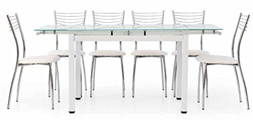 ZeroDueZero Tavolo Allungabile con Struttura in Metallo Bianco E Piano in Vetro Bianco 110x70
