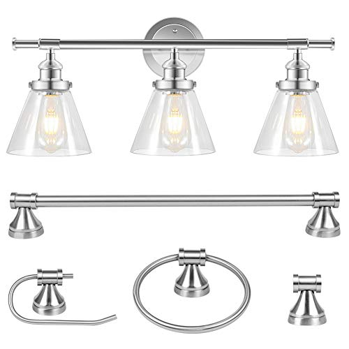 Rottogoon 5-Piece All-in-One Bathroom Set, Vintage 3-Light Vanity Light Fixture with Glass Shades, Towel Bar, Towel Ring, Robe Hook, Toilet Paper Holder (Chrome, Silver)