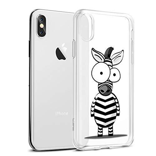 Funda iPhone XS MAX, Eouine Cárcasa Silicona 3D Transparente con Dibujos Diseño [Antigolpes] de Protector Bumper Case Cover Fundas para Movil Apple iPhone XsMax 2018-6,5 Pulgadas (Cebra)