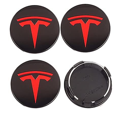 4 piezas de 56 mm, tapacubos de coche, para Tesla Model S X 3 Y 2017 2018 2019 2020 2021 2022 (negro rojo), accesorios para Roadster, tapa central para llantas, decoración de bujes AutoTyre