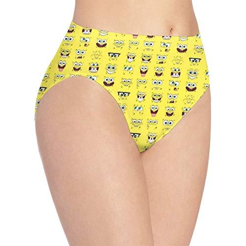 Apojdsn Cartoon Cute Spongebob Schwammkopf Damen Unterhose Atmungsaktiv Bequem Stretch Damen Weiche Unterwäsche Slips Panty Gr. L, weiß
