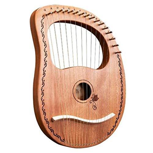 YanYun Lyre Harp 16 Saiten Harfe Tragbare Kleine Harfe mit Haltbaren Stahl Saiten Holz Saiten Musik Instrument, Holz Farbe