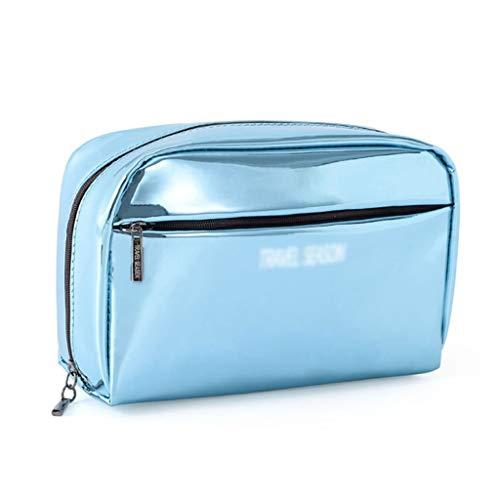 Sac cosmétique Femelle en Cuir Portable Anti-Aquarelle Maquillage Sac Wash Bag Grande capacité Voyage Portable Travel Wash Sac (Color : Blue, Taille : 17 * 11cm)