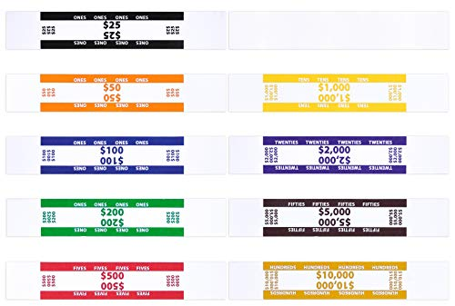 Money Bands - 400 Pack Currency Straps - Vibrant Colors Coded Bank Standard Money Wrappers with Self Sealing - 10 Different Denominations Including Blank Money Straps 7.50 x 1.25 Inches (400 Pack)