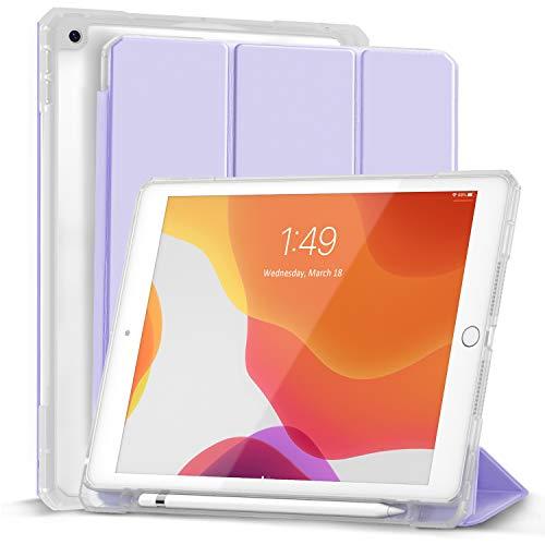 Gahwa Custodia Compatibile con iPad 8a 7a Generazione 10.2 Pollici 2020 2019 con Portapenne, Smart Cover Custodia in Tri-fold con Retro Semi-trasparente Rigido, Auto Sveglia Sonno - Viola