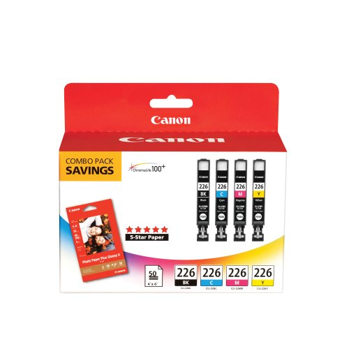 CLI226 Color Pack with Photo Paper 50 Sheets 'Canon CLI226 Color Pack with Photo Paper 50 Sheets Compatible to iP4820, MG5220, MG5120, MG6120, MG8120, MX882, iX6520, iP4920, MG5320, MG6220, MG8220, MX892'
