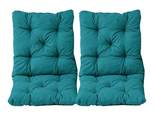 Ambientehome - Juego de 2Cojines y respaldos para Silla Hanko, Aprox. 50x98x8cm, Cojines Acolchados, Azul