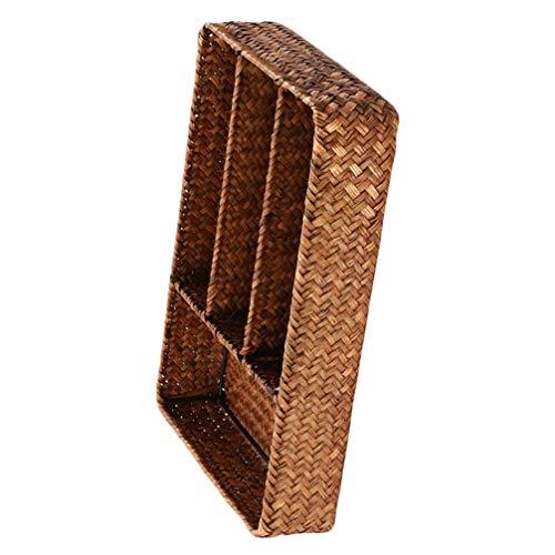 Cabilock Utensili da Cucina Cassetto Organizzatore con Divisori Rattan Posate Cesto di Vimini Naturale Che Serve Cestino Posate Posate Organizzatore Vassoio per Posate E Utensili da Cucina