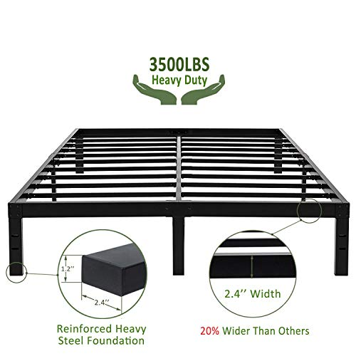 45MinST 14 Inch Reinforced Platform Bed Frame/3500lbs Heavy Duty/Easy Assembly Mattress Foundation/Steel Slat/Noise Free/No Box Spring Needed, Twin/Full/Queen/King/Cal King(Queen)
