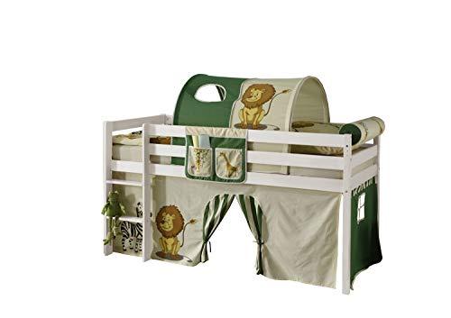 Jugendmöbel24.de Hochbett Aron 90 * 200 cm Kiefer massiv weiß TÜV EN geprüft FSC Zertifiziert Kinderzimmer Spiel Kinder Massivholzbett