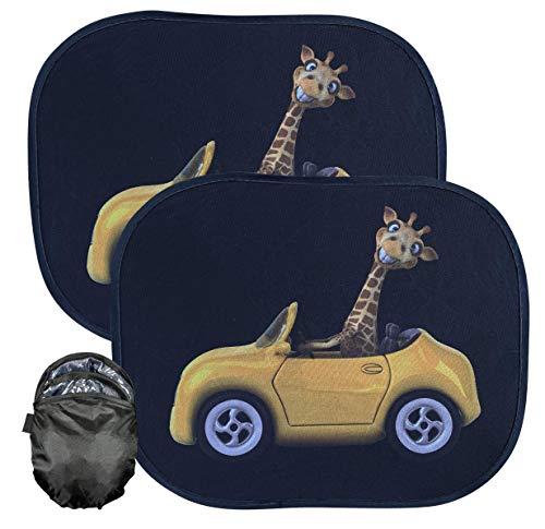 HECKBO® – Parasole Autoadesivo per Auto – Protezione dal Sole per Bambini [2 Pezzi] | Simpatica Giraffa | 44x36cm | Tendine Autoadesive per...