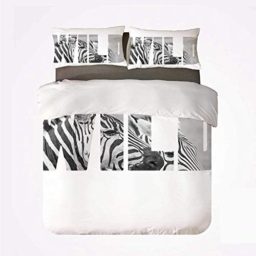 Duvet Cover Set Zebra Print Practical 3 Bedding Set,Word Wild Over Zebras Picture Safari Animals Adventure Travelling Theme Art for Dormify
